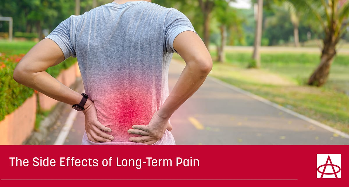 header image for blog a man in a grey shirt grabs his lower back with both hands due to pain a caption reads The Side Effects of Long Term Pain